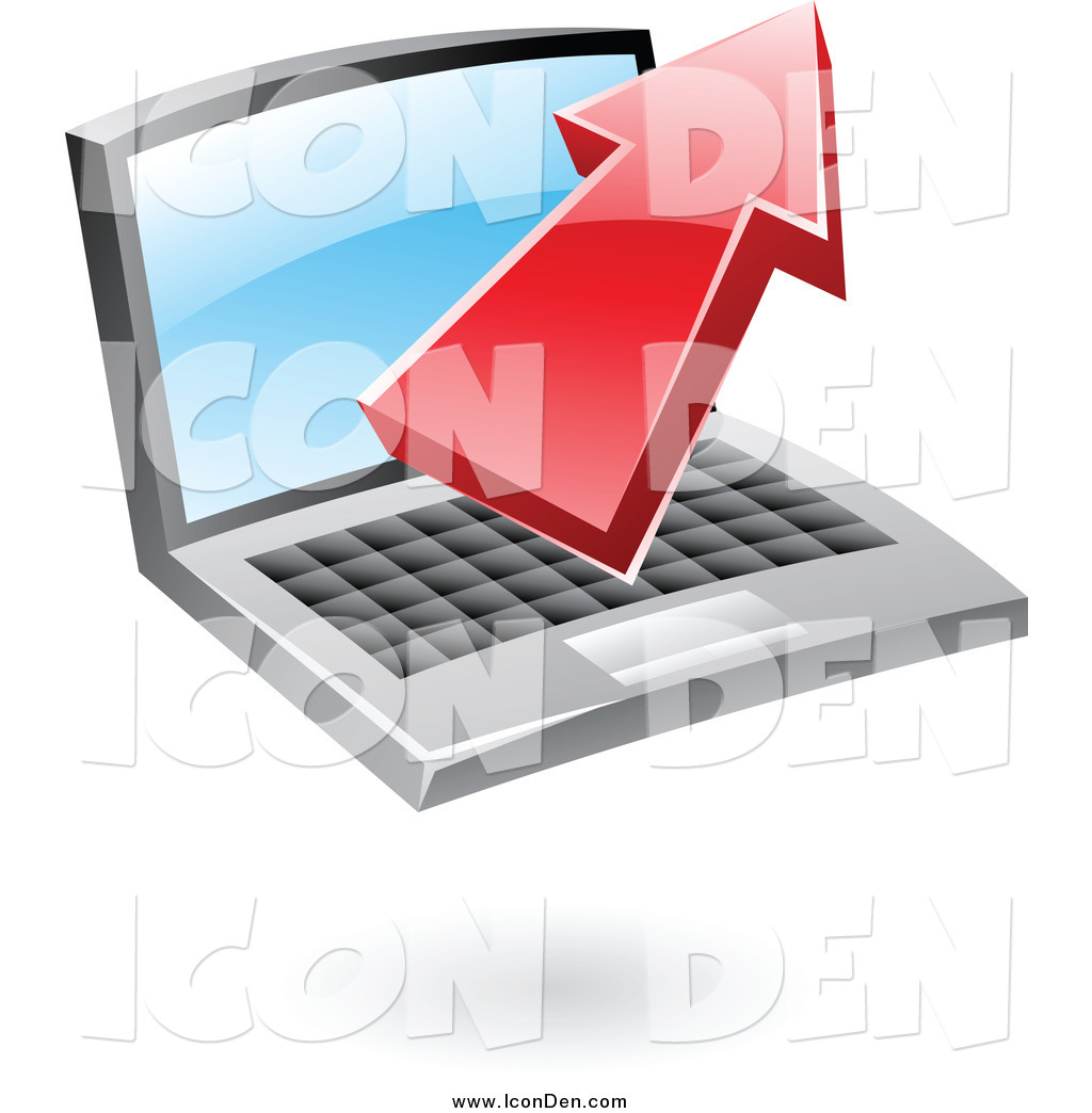 Clip Art Of A 3d Red Upload Arrow Over A Laptop Icon By Cidepix 2534