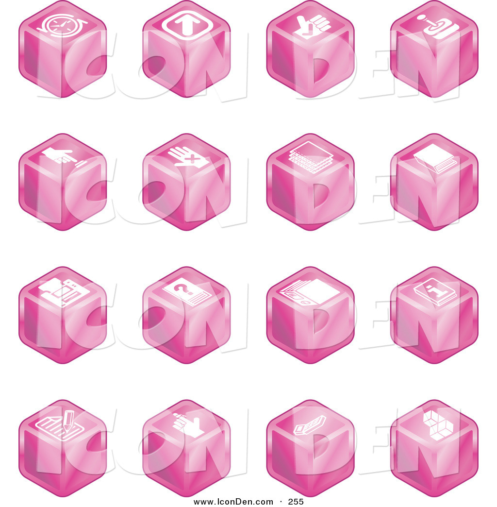 Clip Art of a Set of 16 Pink Cube Icons of Arrows, Joystick