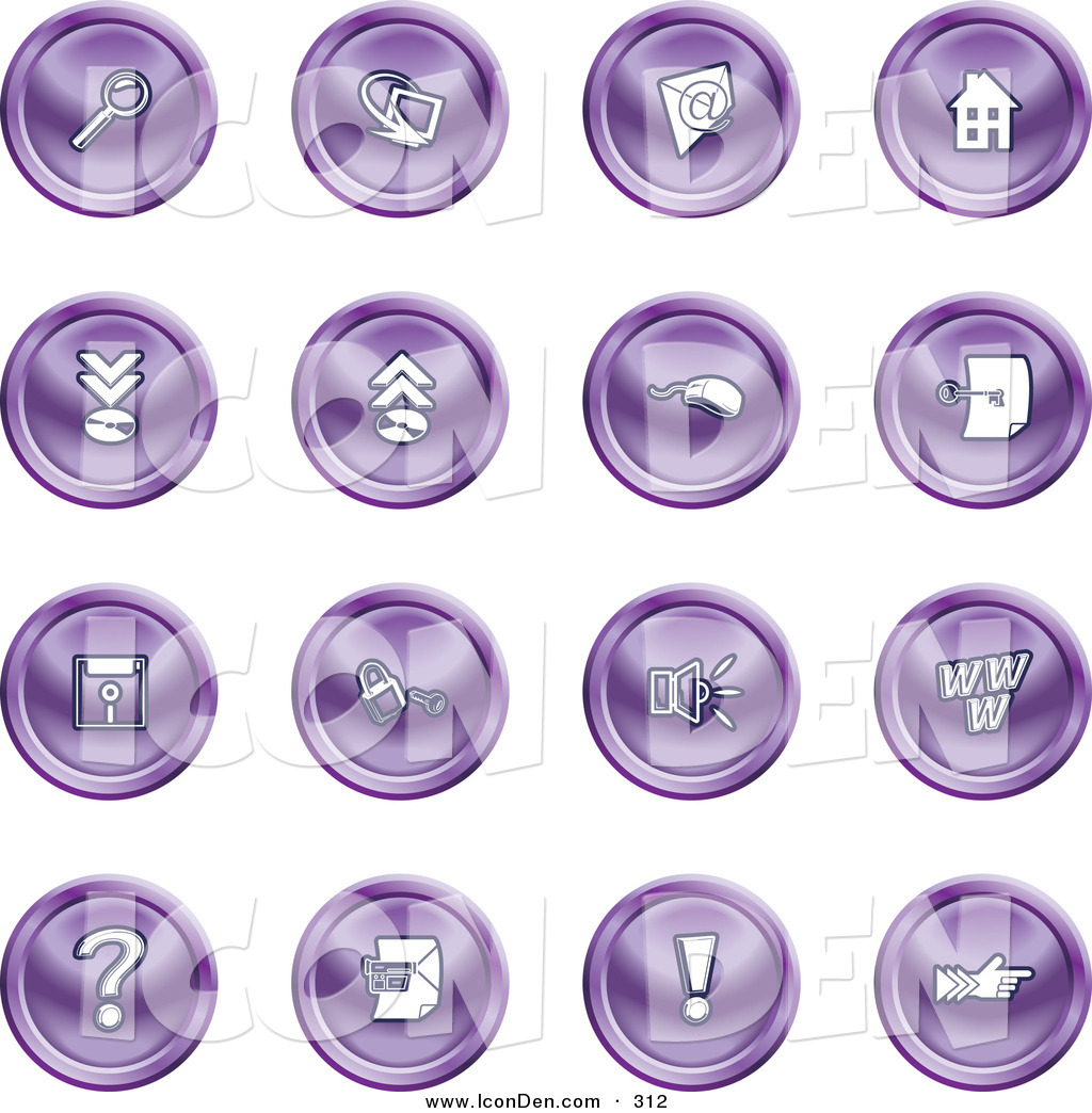 Clip Art of a Set of Purple Icons of a Magnifying Glass, Email ...
