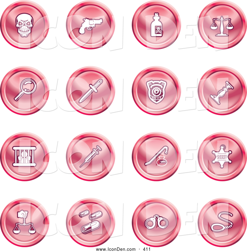 Handcuffs And A Noose Pink Coin Shaped Icons By Geo Images