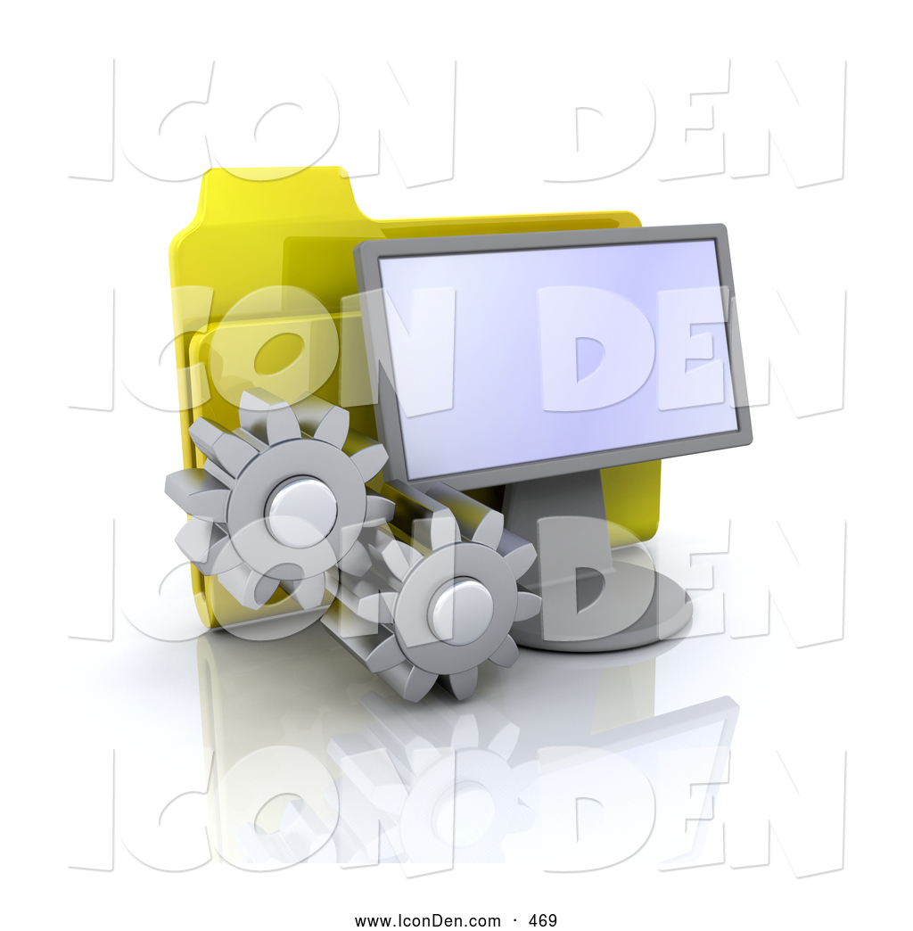 clip art of a yellow file folder behind a computer screen with two