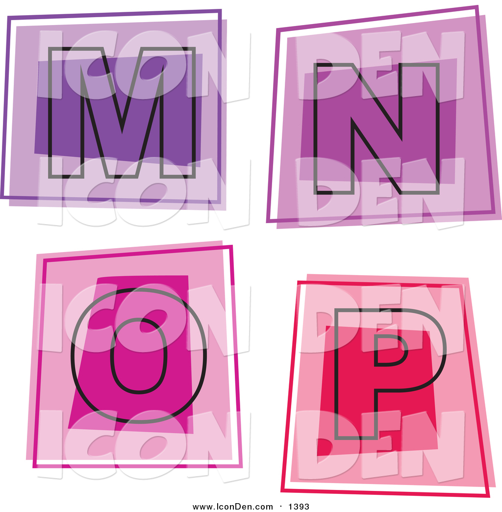 Clip Art of Colorful Square Letter Icons; M Through P by Prawny - #1393