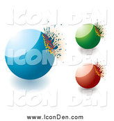 Clip Art of 3d Blue Green and Red Exploding Stones by Michaeltravers