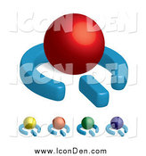 Clip Art of 3d Colorful Power Symbols with Spheres by Arena Creative