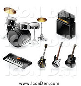 Clip Art of 3d Drums Amp Keyboard and Guitar Music Instrument Icons by TA Images