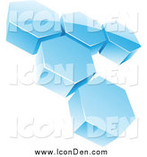 Clip Art of a 3d Abstract Icy Blue Hexagon Honeycomb Network Icon by Cidepix