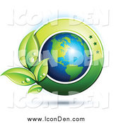 Clip Art of a 3d American Globe with Dewy Leaves and a Green Circle by Beboy