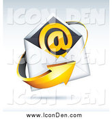 Clip Art of a 3d Arrow Around an Envelope and at Symbol, on a Shaded Background by Beboy