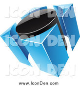 Clip Art of a 3d Blue and Black Circle and Guards Icon by Cidepix