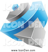 Clip Art of a 3d Blue and Gray RSS Icon by Cidepix