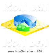 Clip Art of a 3d Blue and Green Pie Chart by Elaineitalia