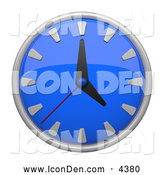 Clip Art of a 3d Blue Circular Wall Clock Icon by Leo Blanchette