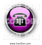 Clip Art of a 3d Chrome and Purple Shiny Telephone Contact Button by KJ Pargeter