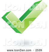 Clip Art of a 3d Green Ok Check Mark by Cidepix