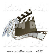 March 5th, 2016: Clip Art of a 3d Movie Clapperboard and Film Reel by AtStockIllustration