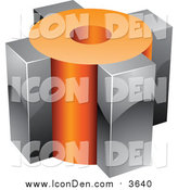 Clip Art of a 3d Orange and Chrome Cubic Icon by Cidepix