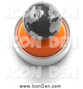 Clip Art of a 3d Orange Button with a Globe by Tonis Pan
