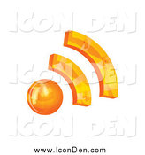 Clip Art of a 3d Orange RSS Icon by MilsiArt