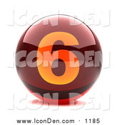 Clip Art of a 3d Red and Orange Number Six Button by Chrisroll