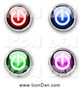 Clip Art of a 3d Red, Blue, Green and Purple Shiny Power Icons by KJ Pargeter