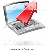 Clip Art of a 3d Red Upload Arrow over a Laptop Icon by Cidepix