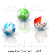 October 24th, 2013: Clip Art of a 3d Rendered Blue, Green and Red Earth Globes on Reflective Surfaces by Tonis Pan
