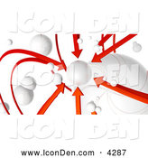 Clip Art of a 3d Rendered Network of Red Arrows and White Orbs, All Arrows Pointing to One Planet, on White by Tonis Pan