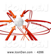 Clip Art of a 3d Rendered White Orb Circled by Focused Red Arrows by Tonis Pan