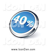 March 16th, 2014: Clip Art of a 3d Round Blue and Chrome Forty Percent Web Site Button by Beboy