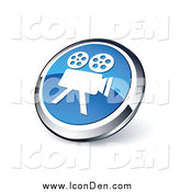 Clip Art of a 3d Round Blue and Chrome Movie Camera Icon by Beboy