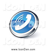 Clip Art of a 3d Round Blue and Chrome Telephone Web Site Button by Beboy