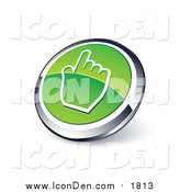 Clip Art of a 3d Round Green and Chrome Hand Cursor Web Site Button by Beboy