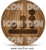 Clip Art of a 3d Wooden Bar Graph Globe Icon by Andrei Marincas