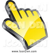 Clip Art of a 3d Yellow Computer Cursor Hand by Beboy