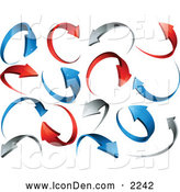 Clip Art of a Background of Red, Gray and Blue Circling and Rotating Arrows over White by Beboy