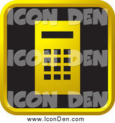 Clip Art of a Black and Gold Calculator Website Icon by Lal Perera