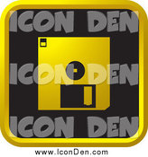 Clip Art of a Black and Gold Floppy Disk Icon by Lal Perera
