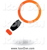 Clip Art of a Black and Orange Search Magnifying Glass Icon by Cidepix