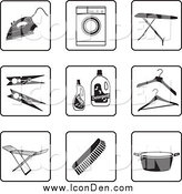 Clip Art of a Black and White Laundry Icons by Frisko