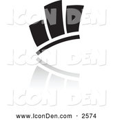 December 4th, 2013: Clip Art of a Black Bar Graph and Reflection Icon by Cidepix