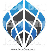 Clip Art of a Blue and Black Ship Icon by Cidepix
