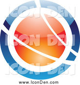 Clip Art of a Blue and Orange Orb with White Swooshes Icon by Cidepix