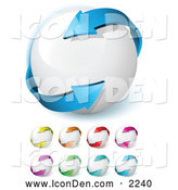 Clip Art of a Blue Arrow Wrapping Around a White Ball, Symbolizing Circulation, Recycling and Ecology, and Includes Other Colors by Beboy