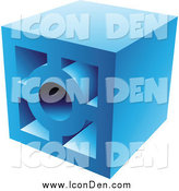 Clip Art of a Blue Brick Cinder Block by Cidepix