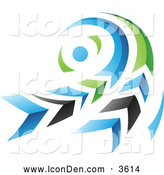 December 20th, 2013: Clip Art of a Blue, Green and Black Swirl Icon by Cidepix