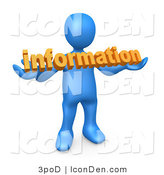 Clip Art of a Blue Person Carrying Orange Internet Text Reading Information by 3poD