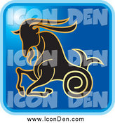 September 4th, 2014: Clip Art of a Blue Square Capricorn Astrology Icon Design by Lal Perera