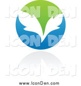 Clip Art of a Blue White and Green Organic Ecology Icon with Leaves by Elena