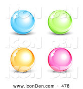 Clip Art of a Bright Set of Four Blue, Green, Orange and Pink Shiny Marbles or Orbs by Beboy