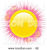 Clip Art of a Bright Shiny Yellow Circle with Pink Spikes on a Solid White Background by Elaineitalia